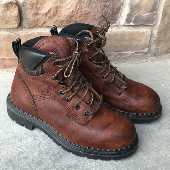 Red Wing Womens Work BOOTS Brown Steel Toe Size 6.  M 5b72309442aa764ada5e3d3e 5a0a03ecc4